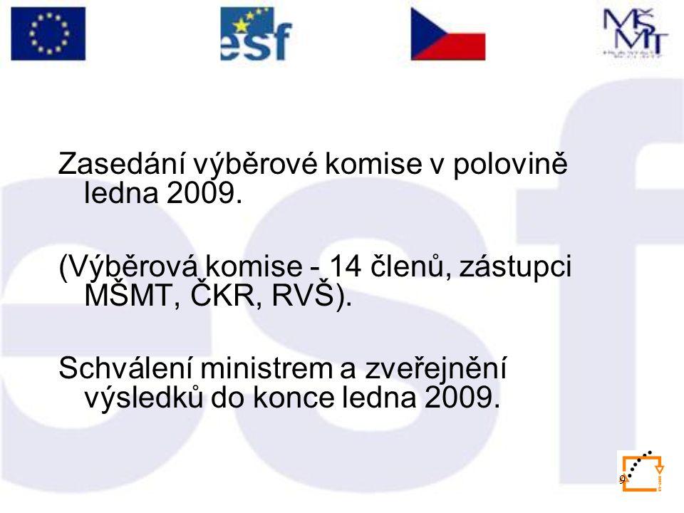 9 Zasedání výběrové komise v polovině ledna 2009. (Výběrová komise - 14 členů, zástupci MŠMT, ČKR, RVŠ). Schválení ministrem a zveřejnění výsledků do
