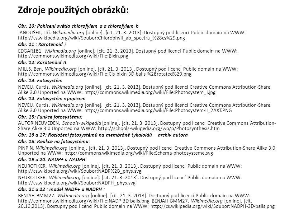 Zdroje použitých obrázků: Obr. 10: Pohlcení světla chlorofylem a a chlorofylem b JANOUŠEK, Jiří. Wikimedia.org [online]. [cit. 21. 3. 2013]. Dostupný