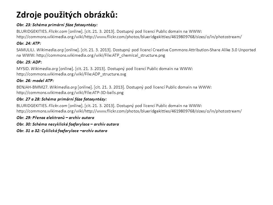 Zdroje použitých obrázků: Obr. 23: Schéma primární fáze fotosyntézy: BLURIDGEKITIES. Flickr.com [online]. [cit. 21. 3. 2013]. Dostupný pod licencí Pub