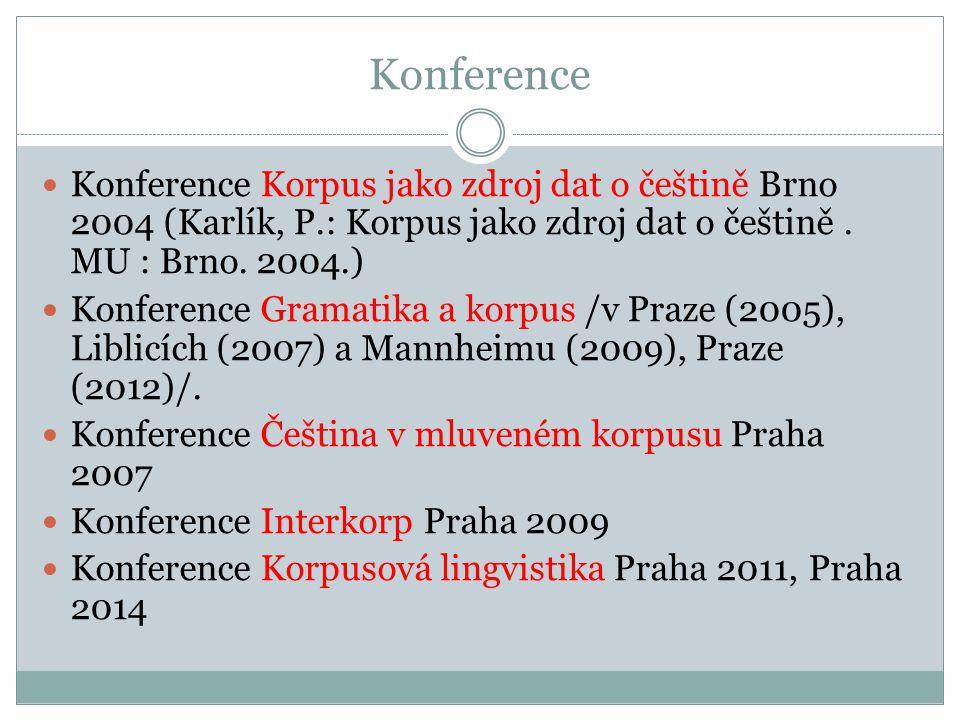 Konference Konference Korpus jako zdroj dat o češtině Brno 2004 (Karlík, P.: Korpus jako zdroj dat o češtině. MU : Brno. 2004.) Konference Gramatika a