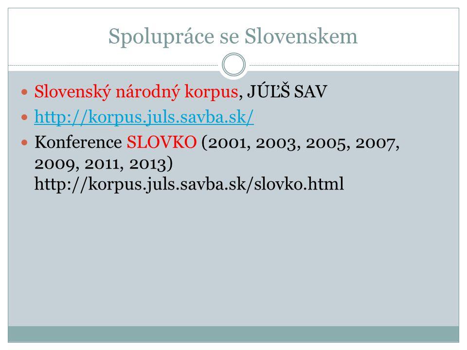 Spolupráce se Slovenskem Slovenský národný korpus, JÚĽŠ SAV http://korpus.juls.savba.sk/ Konference SLOVKO (2001, 2003, 2005, 2007, 2009, 2011, 2013)