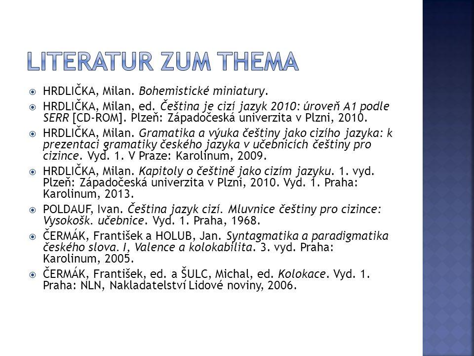  HRDLIČKA, Milan. Bohemistické miniatury.  HRDLIČKA, Milan, ed. Čeština je cizí jazyk 2010: úroveň A1 podle SERR [CD-ROM]. Plzeň: Západočeská univer