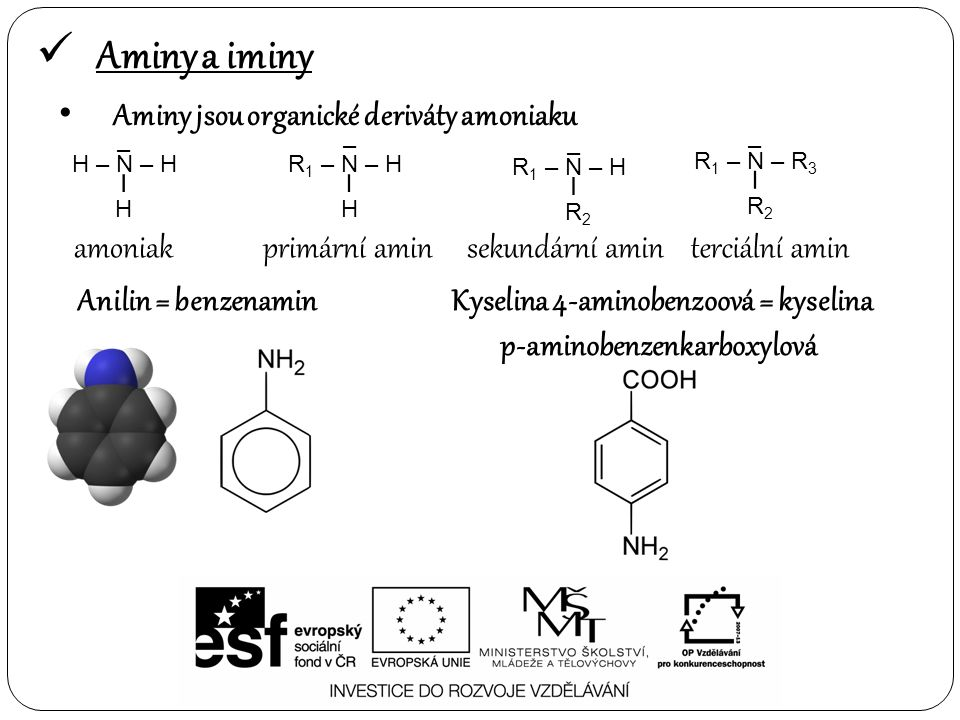 Aminy a iminy – NH – CH 3 N-methylcyklohexanamin – N – CH 3 – N,N-dicyklohexylmethanamin Iminy : =N – H Hexanimin CH 3 – CH 2 – CH 2 – CH 2 – CH 2 – CH = N - H H – O – CH 2 – CH 2 – CH 2 – CH = N - H 4-iminobutanol