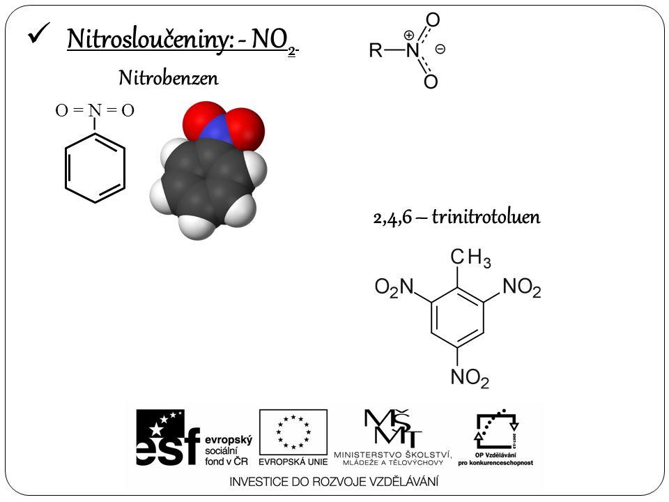  Sloučeniny obsahující síru – S Sulfonové kyseliny Thioly Sulfidy R Strukrura předponakoncovka sulfo – – sulfonová kyselina R – S – H sulfanyl – – thiol R – S – R R – sulfanyl – –