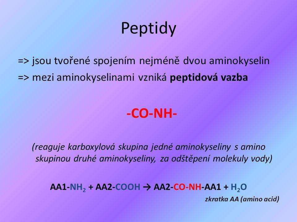 Peptidy => jsou tvořené spojením nejméně dvou aminokyselin => mezi aminokyselinami vzniká peptidová vazba -CO-NH- (reaguje karboxylová skupina jedné a