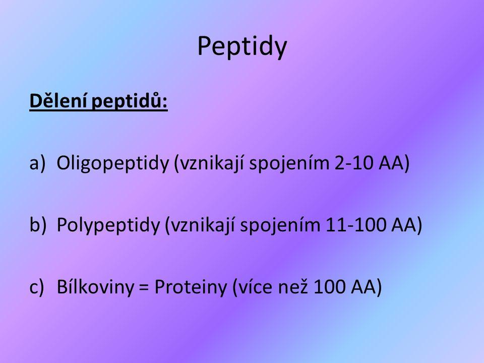 Významné peptidy ● Peptidové hormony (inzulín, glukagon, oxytocin, vasopresin) ● Peptidová antibiotika (penicilin, aktinomycin) ● Peptidové jedy (hadí jedy, faloidin – jed v muchomůrkách)