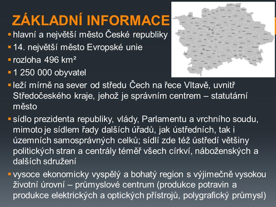 ZÁKLADNÍ INFORMACE  hlavní a největší město České republiky  14. největší město Evropské unie  rozloha 496 km²  1 250 000 obyvatel  leží mírně na