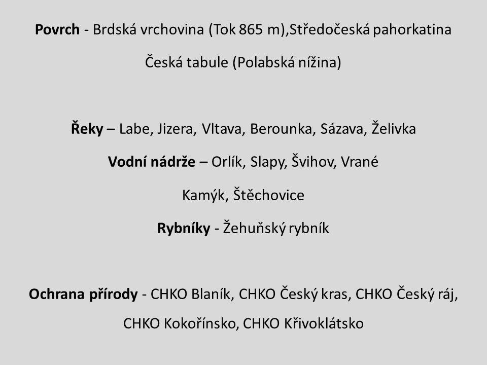 Povrch - Brdská vrchovina (Tok 865 m),Středočeská pahorkatina Česká tabule (Polabská nížina) Řeky – Labe, Jizera, Vltava, Berounka, Sázava, Želivka Vodní nádrže – Orlík, Slapy, Švihov, Vrané Kamýk, Štěchovice Rybníky - Žehuňský rybník Ochrana přírody - CHKO Blaník, CHKO Český kras, CHKO Český ráj, CHKO Kokořínsko, CHKO Křivoklátsko