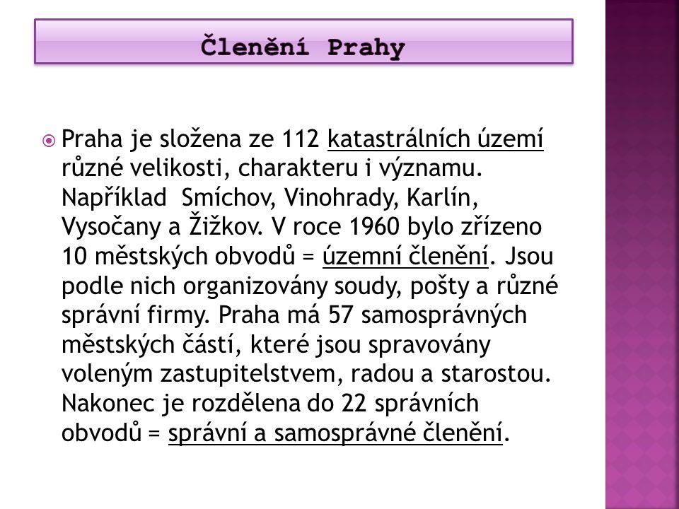  Praha je složena ze 112 katastrálních území různé velikosti, charakteru i významu. Například Smíchov, Vinohrady, Karlín, Vysočany a Žižkov. V roce 1