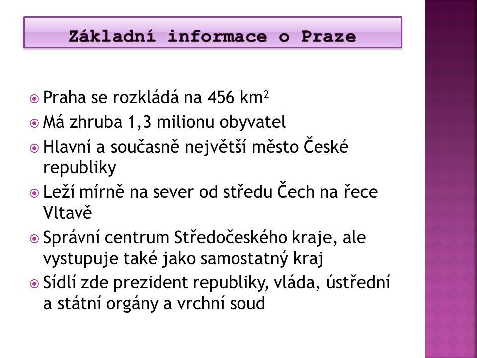  Praha se rozkládá na 456 km 2  Má zhruba 1,3 milionu obyvatel  Hlavní a současně největší město České republiky  Leží mírně na sever od středu Če