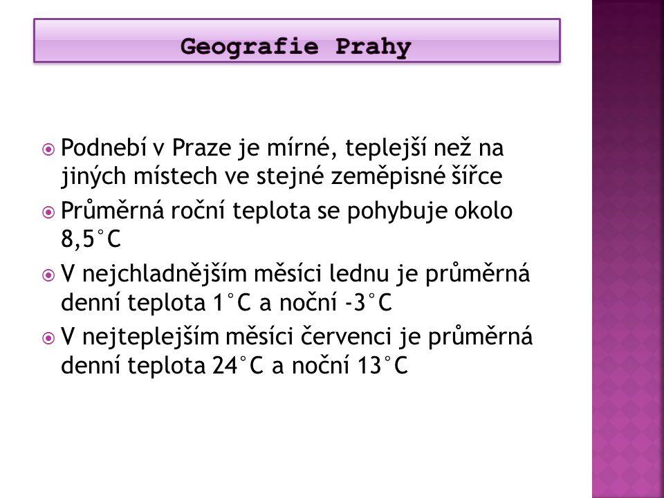  Podnebí v Praze je mírné, teplejší než na jiných místech ve stejné zeměpisné šířce  Průměrná roční teplota se pohybuje okolo 8,5°C  V nejchladnějš