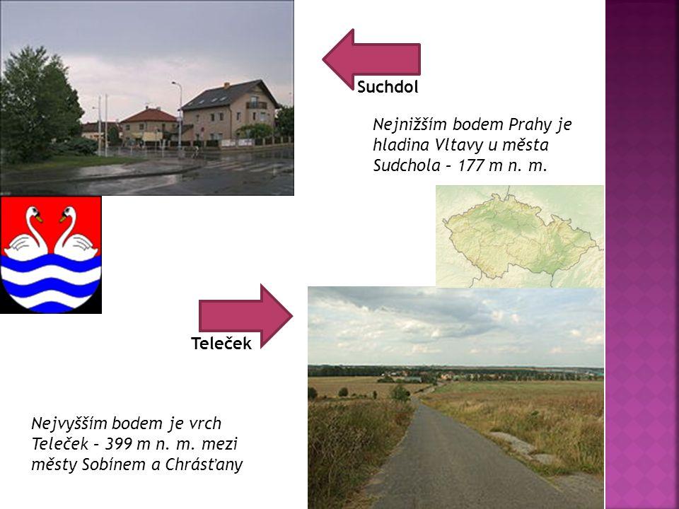 Teleček Suchdol Nejnižším bodem Prahy je hladina Vltavy u města Sudchola – 177 m n. m. Nejvyšším bodem je vrch Teleček – 399 m n. m. mezi městy Sobíne