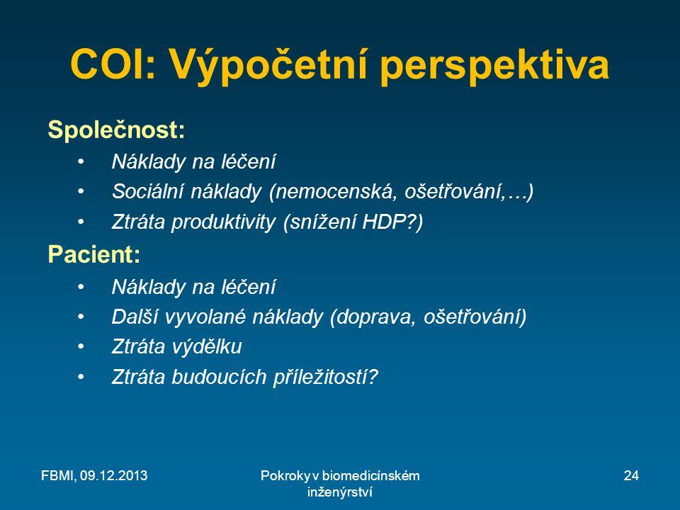 COI: Výpočetní perspektiva Společnost: Náklady na léčení Sociální náklady (nemocenská, ošetřování,…) Ztráta produktivity (snížení HDP?) Pacient: Náklady na léčení Další vyvolané náklady (doprava, ošetřování) Ztráta výdělku Ztráta budoucích příležitostí.
