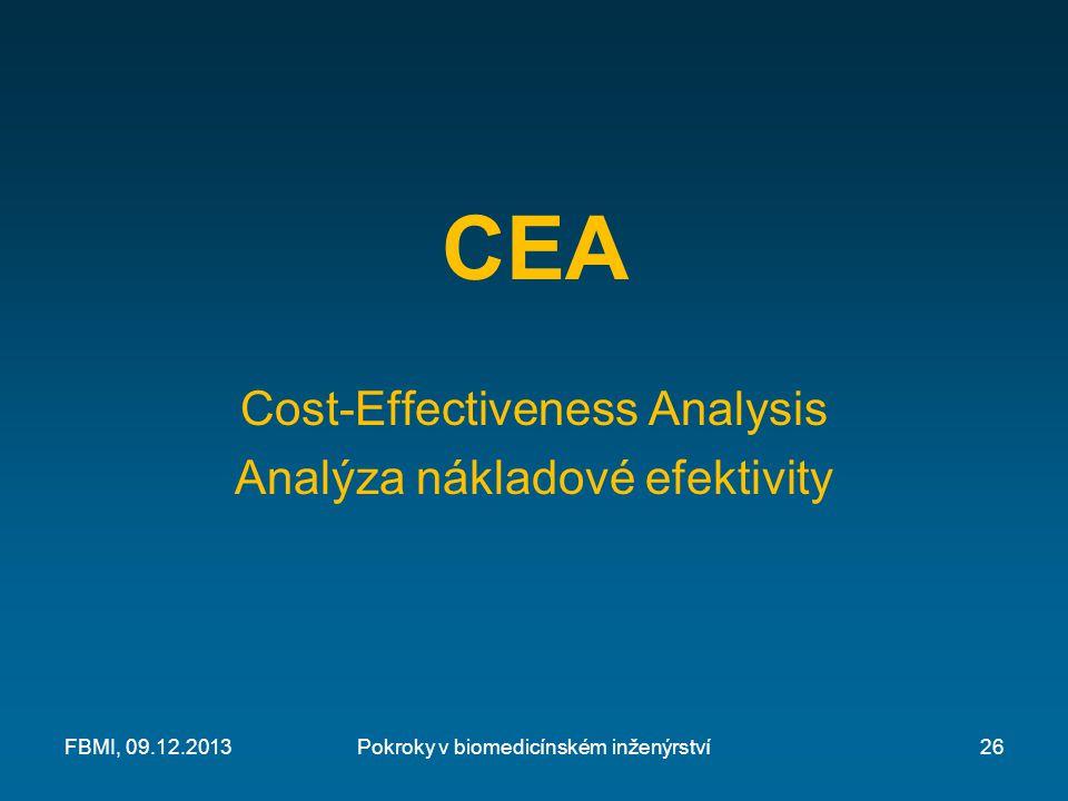 CEA Cost-Effectiveness Analysis Analýza nákladové efektivity Pokroky v biomedicínském inženýrstvíFBMI, 09.12.201326