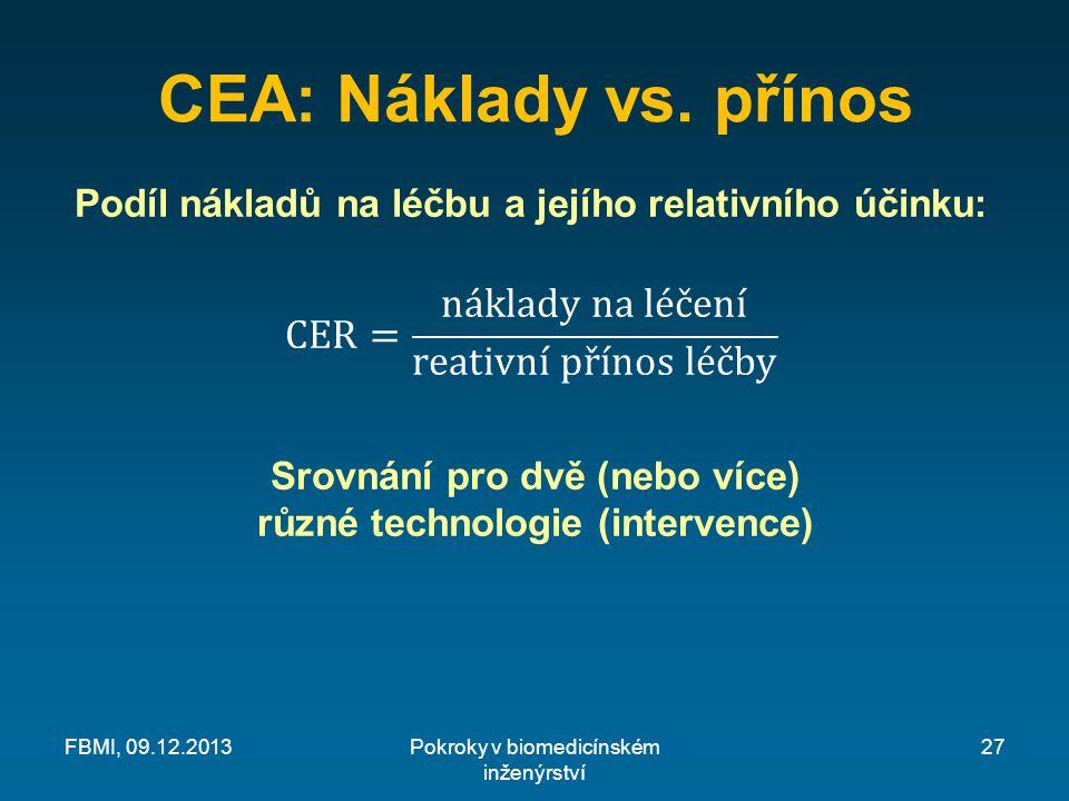CEA: Náklady vs. přínos Pokroky v biomedicínském inženýrství FBMI, 09.12.201327