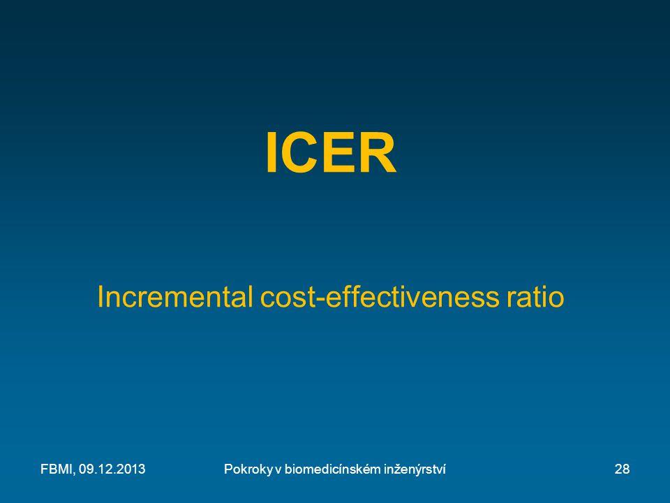 ICER Incremental cost-effectiveness ratio Pokroky v biomedicínském inženýrstvíFBMI, 09.12.201328