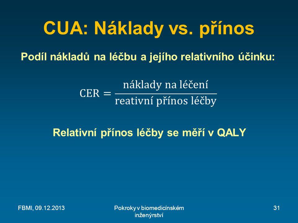 CUA: Náklady vs. přínos Pokroky v biomedicínském inženýrství FBMI, 09.12.201331