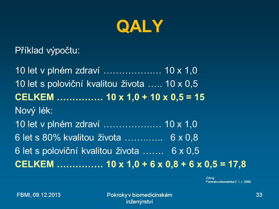 QALY Příklad výpočtu: 10 let v plném zdraví …………….… 10 x 1,0 10 let s poloviční kvalitou života …..