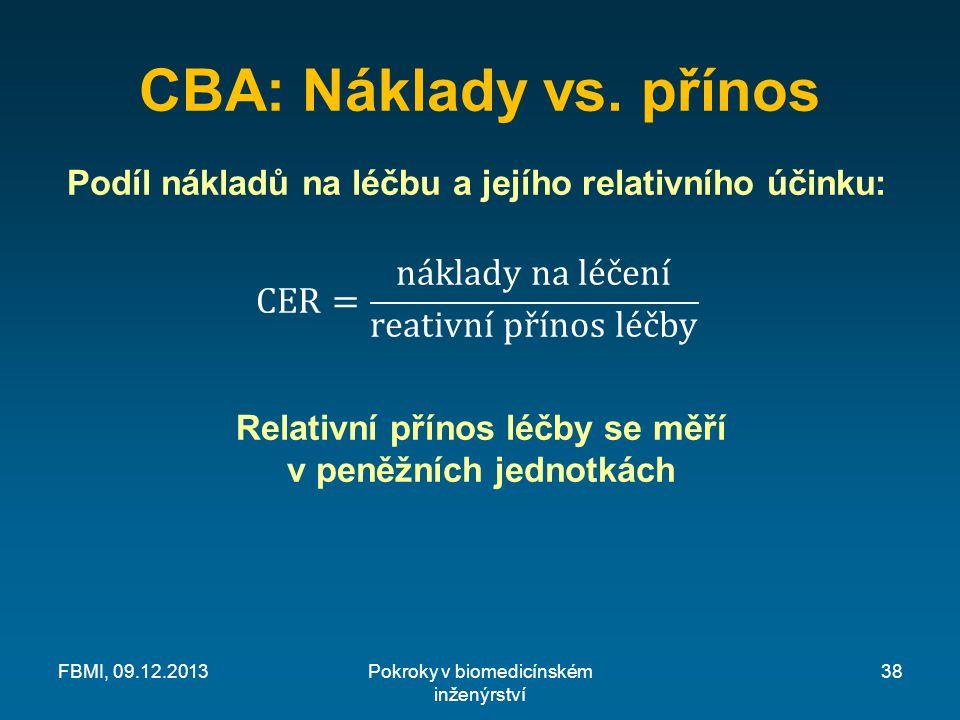 CBA: Náklady vs. přínos Pokroky v biomedicínském inženýrství FBMI, 09.12.201338