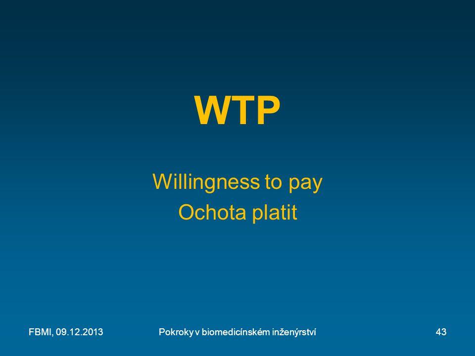 WTP Willingness to pay Ochota platit Pokroky v biomedicínském inženýrstvíFBMI, 09.12.201343