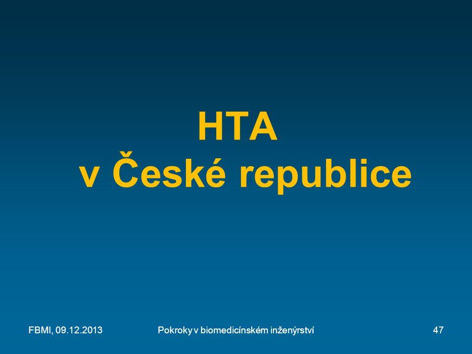 HTA v České republice Pokroky v biomedicínském inženýrstvíFBMI, 09.12.201347