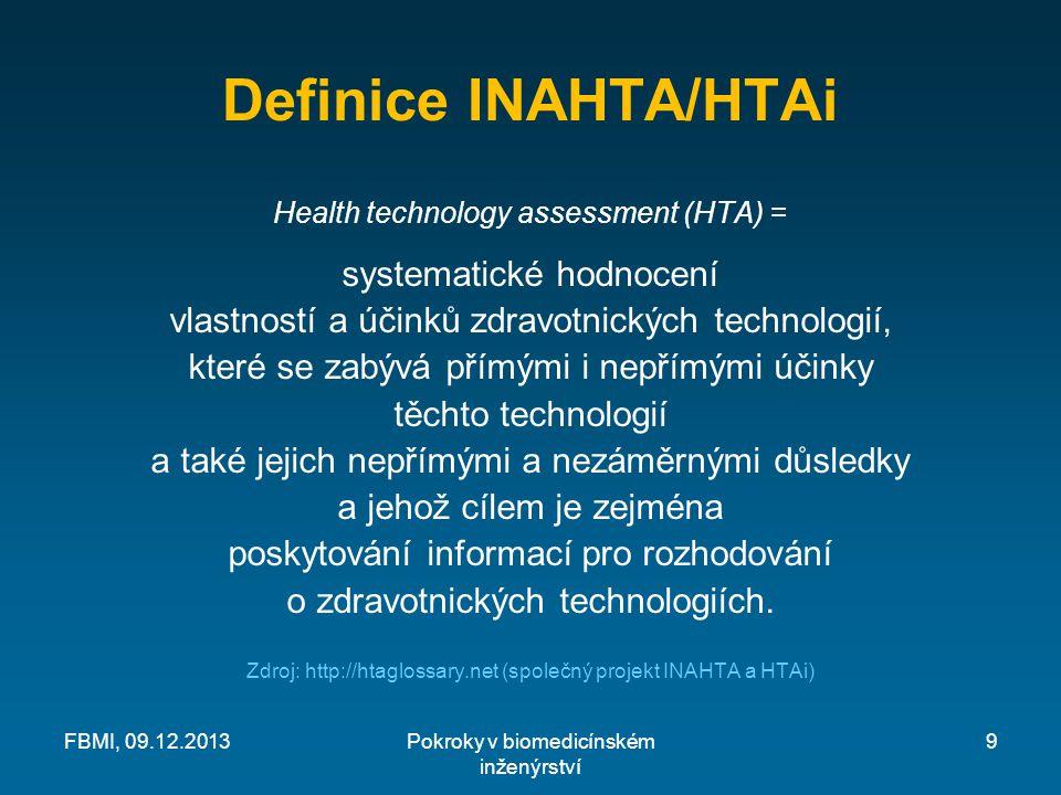 Definice INAHTA/HTAi Health technology assessment (HTA) = systematické hodnocení vlastností a účinků zdravotnických technologií, které se zabývá přímými i nepřímými účinky těchto technologií a také jejich nepřímými a nezáměrnými důsledky a jehož cílem je zejména poskytování informací pro rozhodování o zdravotnických technologiích.
