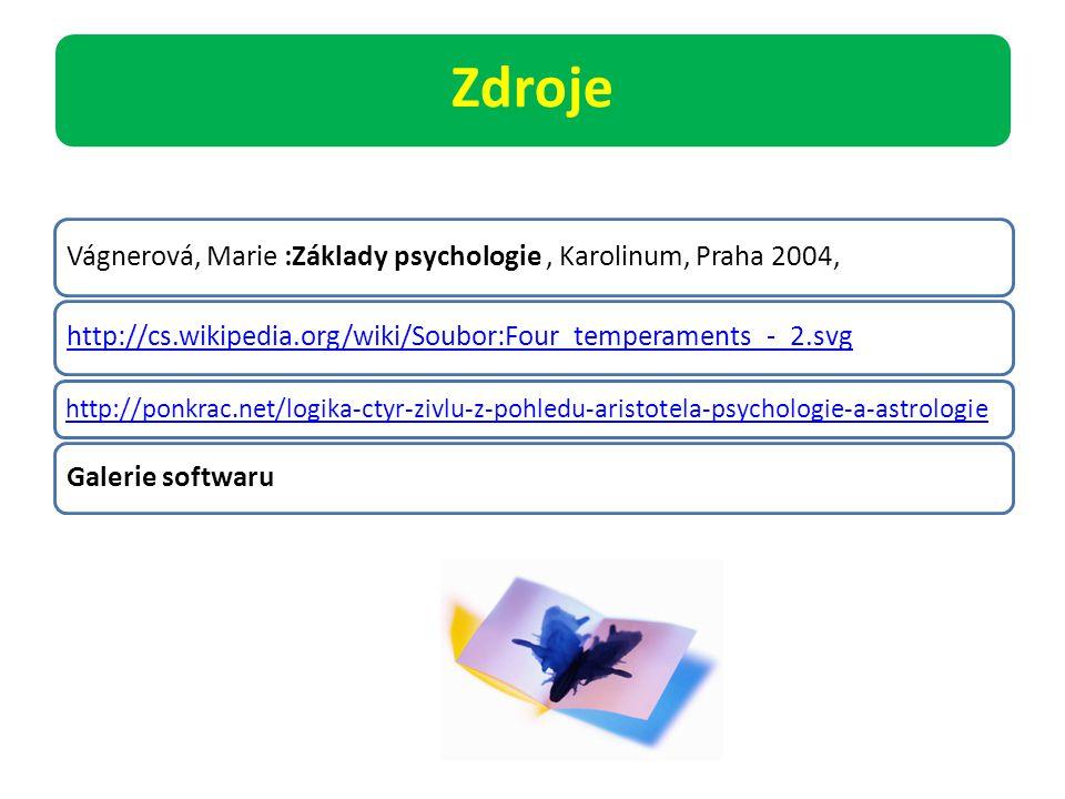 Zdroje Vágnerová, Marie :Základy psychologie, Karolinum, Praha 2004, http://cs.wikipedia.org/wiki/Soubor:Four_temperaments_-_2.svg http://ponkrac.net/