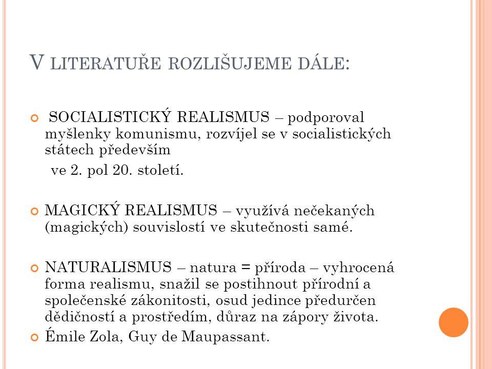 P ŘEDSTAVITELÉ V LITERATUŘE : Anglie: Charles Dickens Francie: Honoré de Balzac, Émile Zola, Gustave Flaubert.