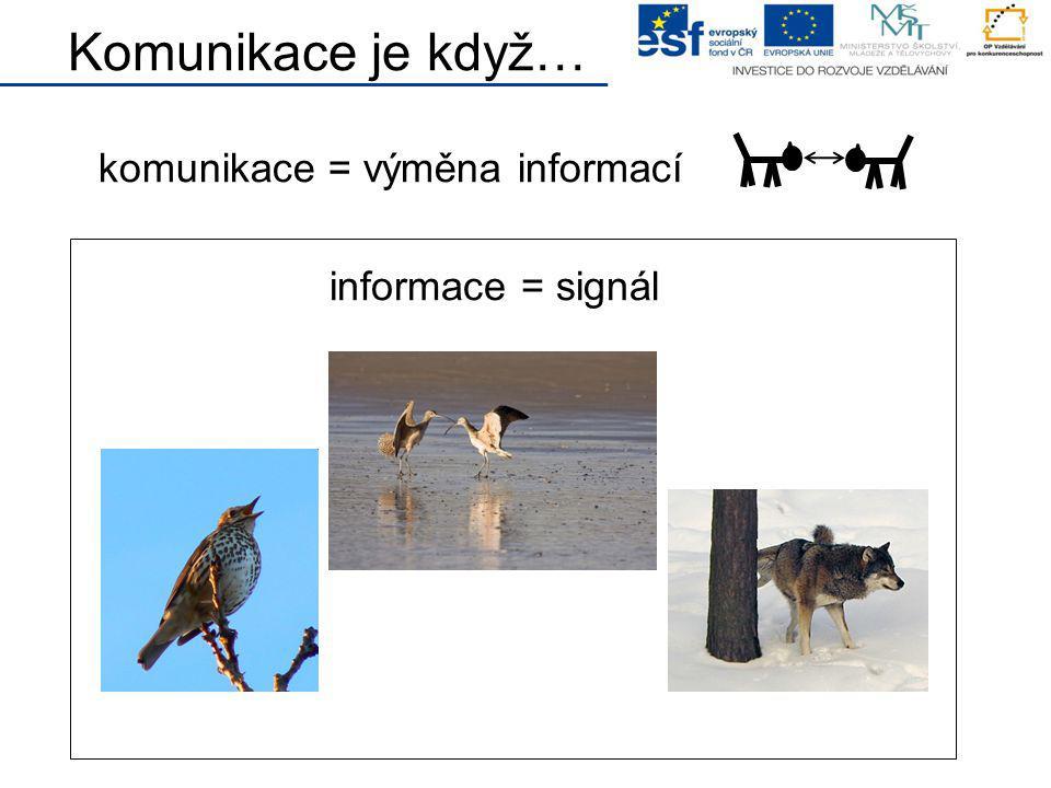 Komunikace je když… komunikace = výměna informací informace = signál