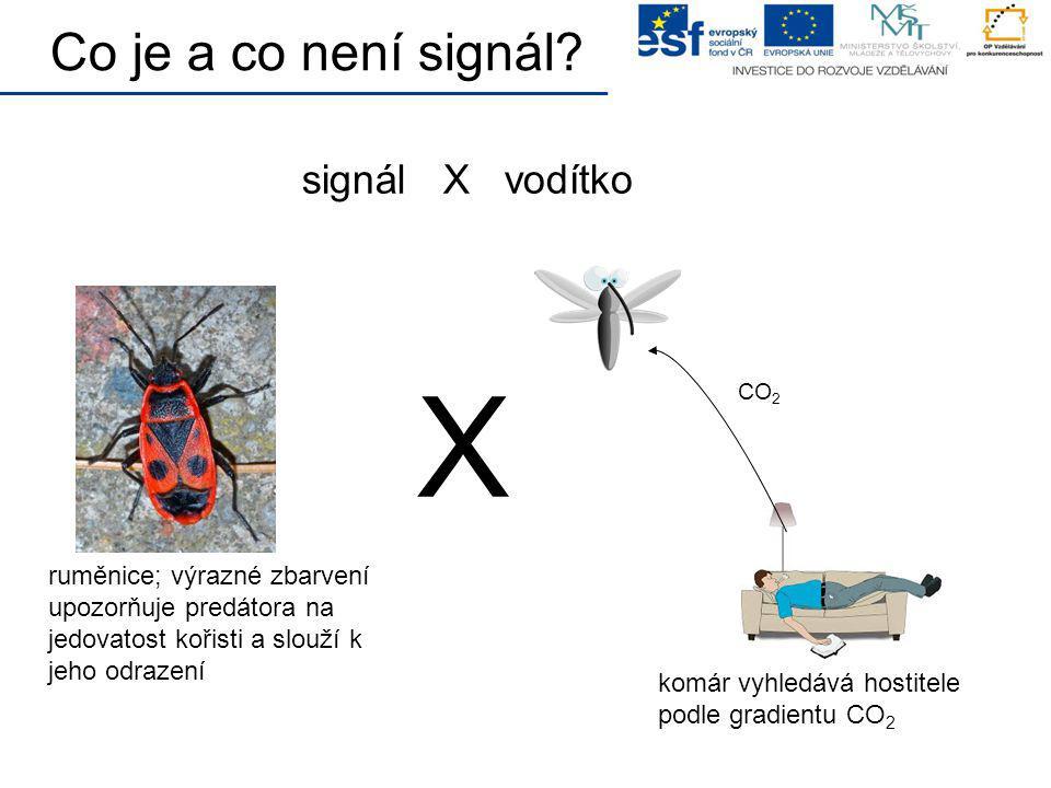 signál X vodítko CO 2 X Co je a co není signál? ruměnice; výrazné zbarvení upozorňuje predátora na jedovatost kořisti a slouží k jeho odrazení komár v