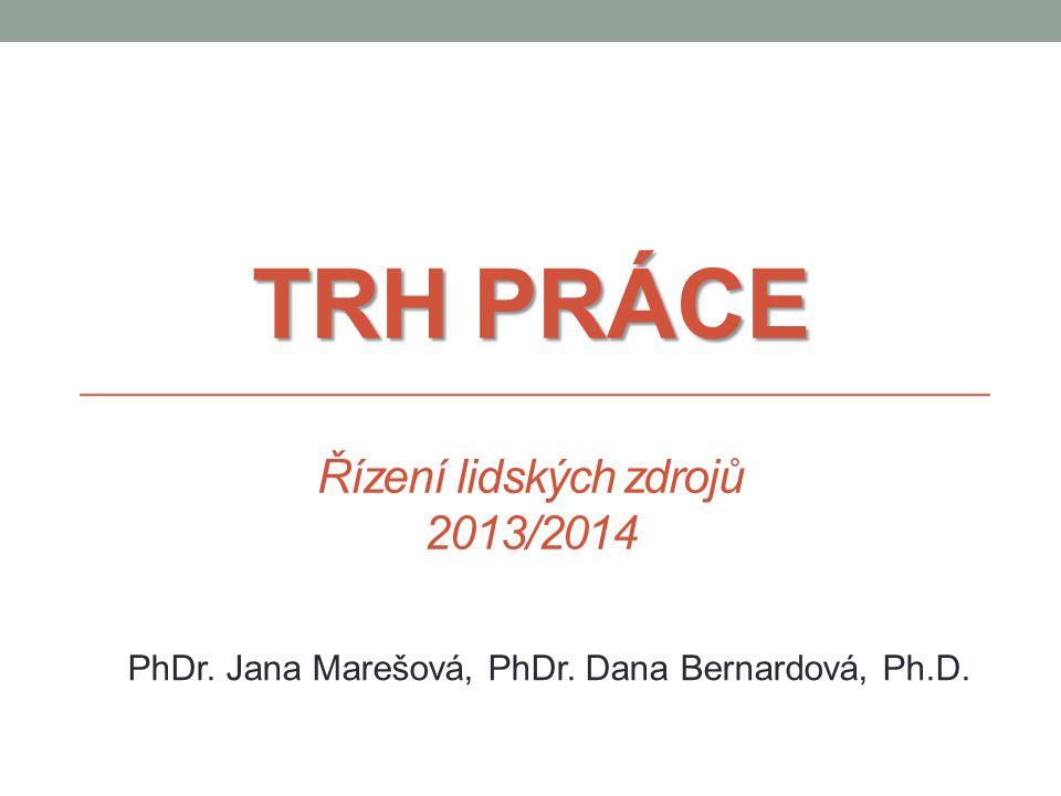 TRH PRÁCE TRH PRÁCE Řízení lidských zdrojů 2013/2014 PhDr. Jana Marešová, PhDr. Dana Bernardová, Ph.D.