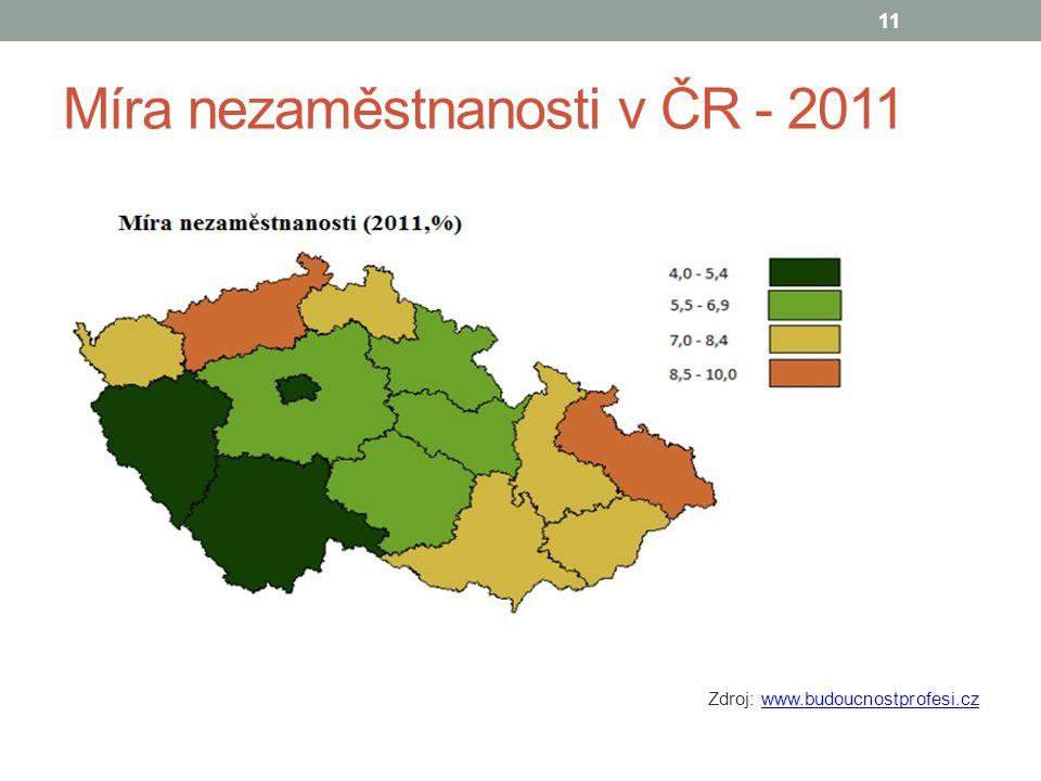 Míra nezaměstnanosti v ČR - 2011 Zdroj: www.budoucnostprofesi.czwww.budoucnostprofesi.cz 11