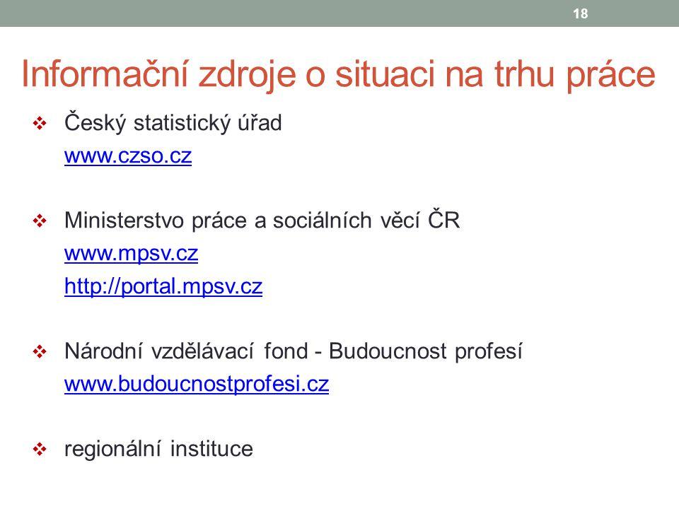 Informační zdroje o situaci na trhu práce  Český statistický úřad www.czso.cz  Ministerstvo práce a sociálních věcí ČR www.mpsv.cz http://portal.mps