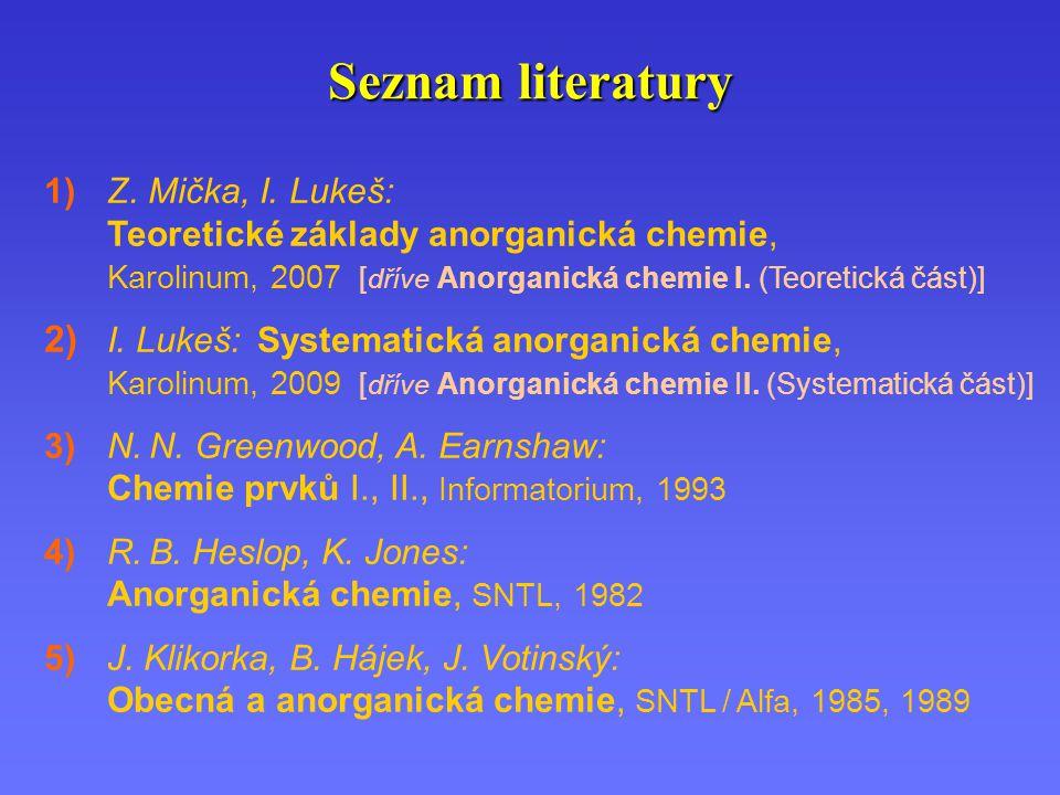 Seznam literatury 1) Z. Mička, I.