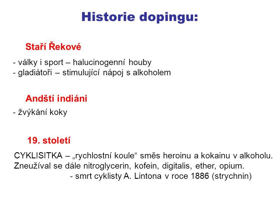Historie dopingu: 20.století - 1910 – první zákazy se týkaly dostihů koní (analýza slin) - I.