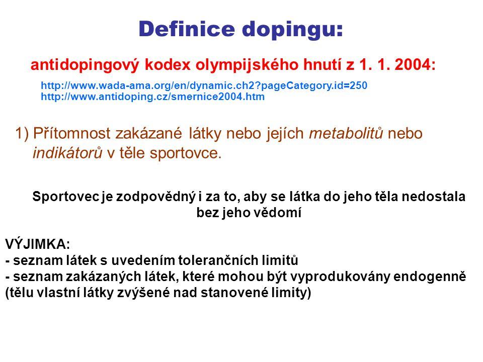 Definice dopingu: 1) Přítomnost zakázané látky nebo jejích metabolitů nebo indikátorů v těle sportovce.