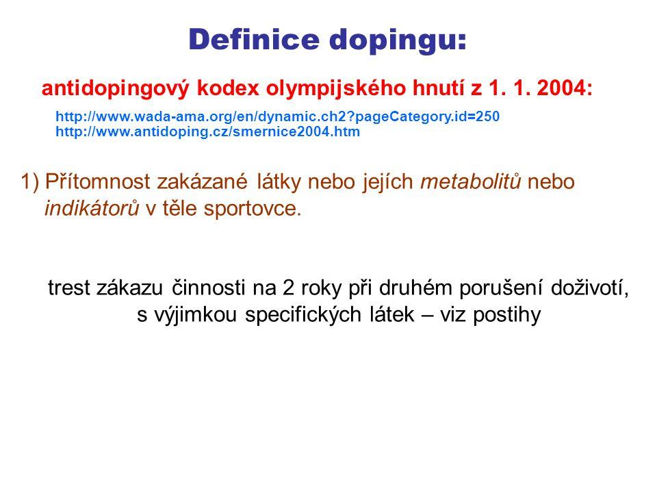 Definice dopingu: 2) Použití nebo pokus o použití zakázané látky nebo zakázané metody.