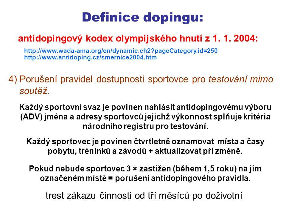 Definice dopingu: 5) Podvádění nebo pokus o podvádění v průběhu kterékoli části dopingové kontroly.