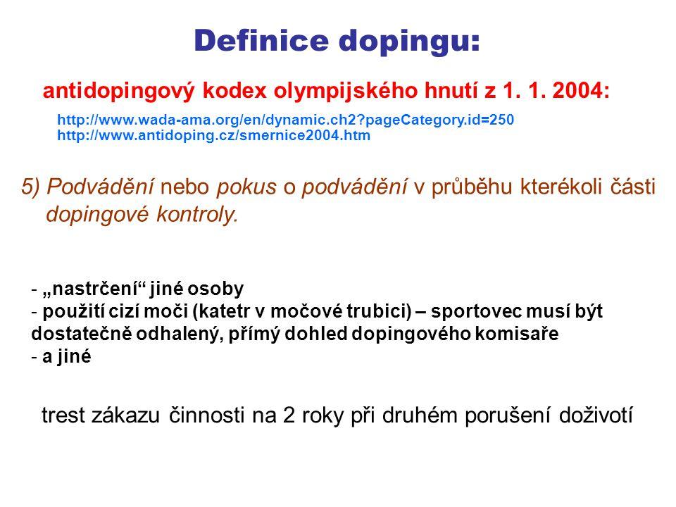 Definice dopingu: 6) Držení zakázaných látek a látek umožňujících zakázané metody.