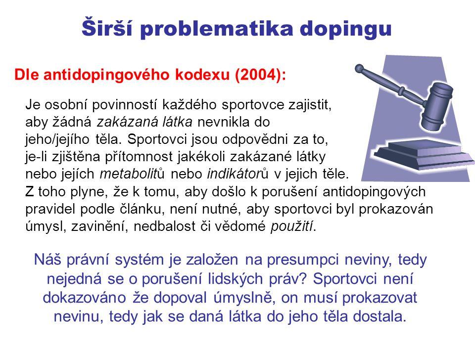Možnosti použití zakázaných látek Vědomé Omyl – požití zakázané látky vlastním omylem či druhé osoby (trenér, lékař) Náhoda – např.