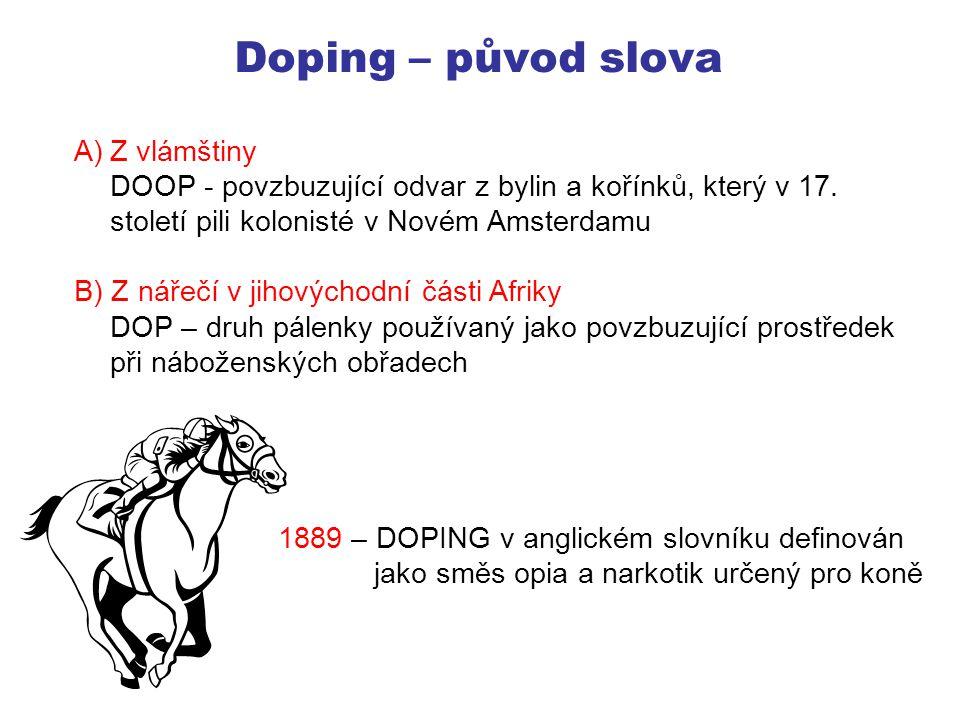 Doping Dopovat Používat zakázané látky či metody vedoucí ke zvýšení sportovní výkonnosti