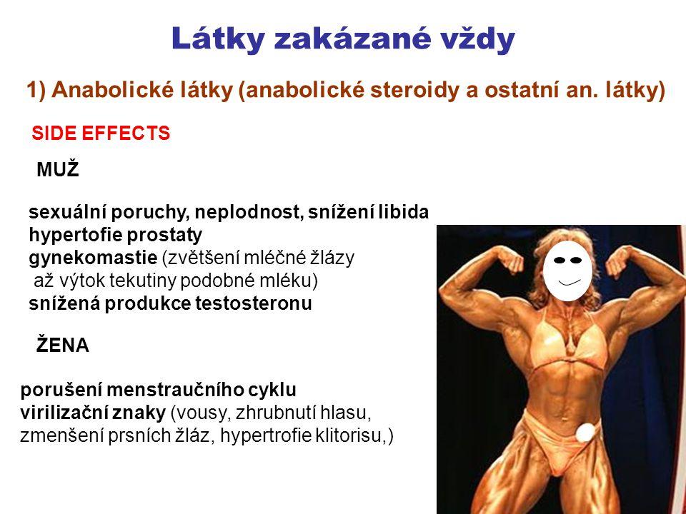 Látky zakázané vždy 1) Anabolické látky (anabolické steroidy a ostatní an.