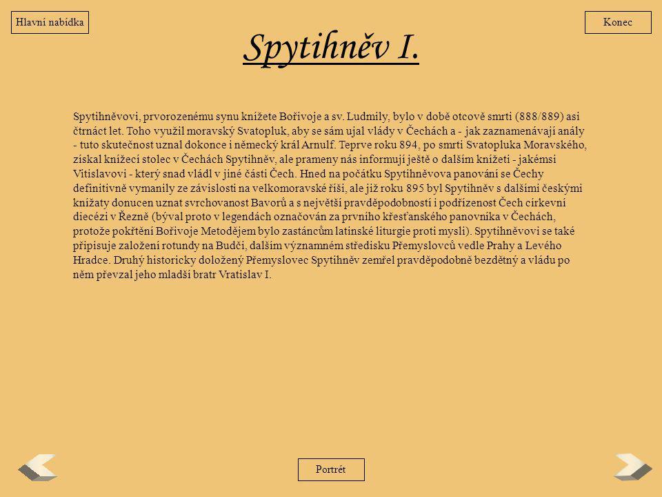Spytihněv I. Spytihněvovi, prvorozenému synu knížete Bořivoje a sv. Ludmily, bylo v době otcově smrti (888/889) asi čtrnáct let. Toho využil moravský