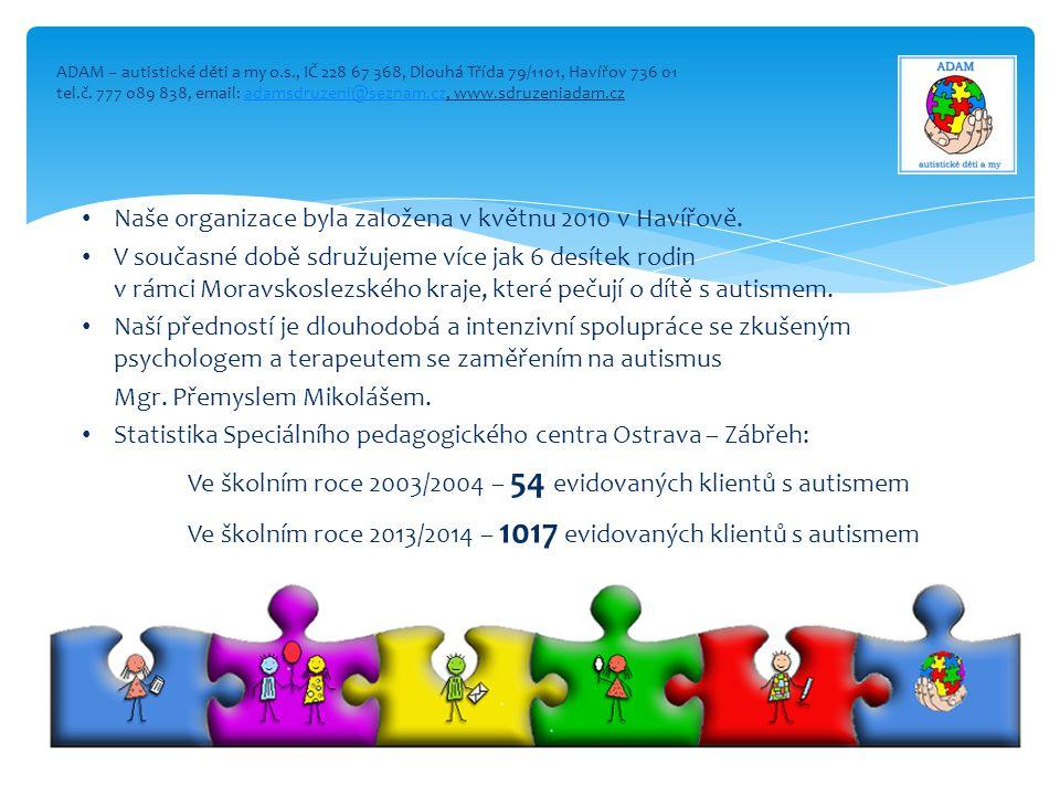Naše organizace byla založena v květnu 2010 v Havířově.