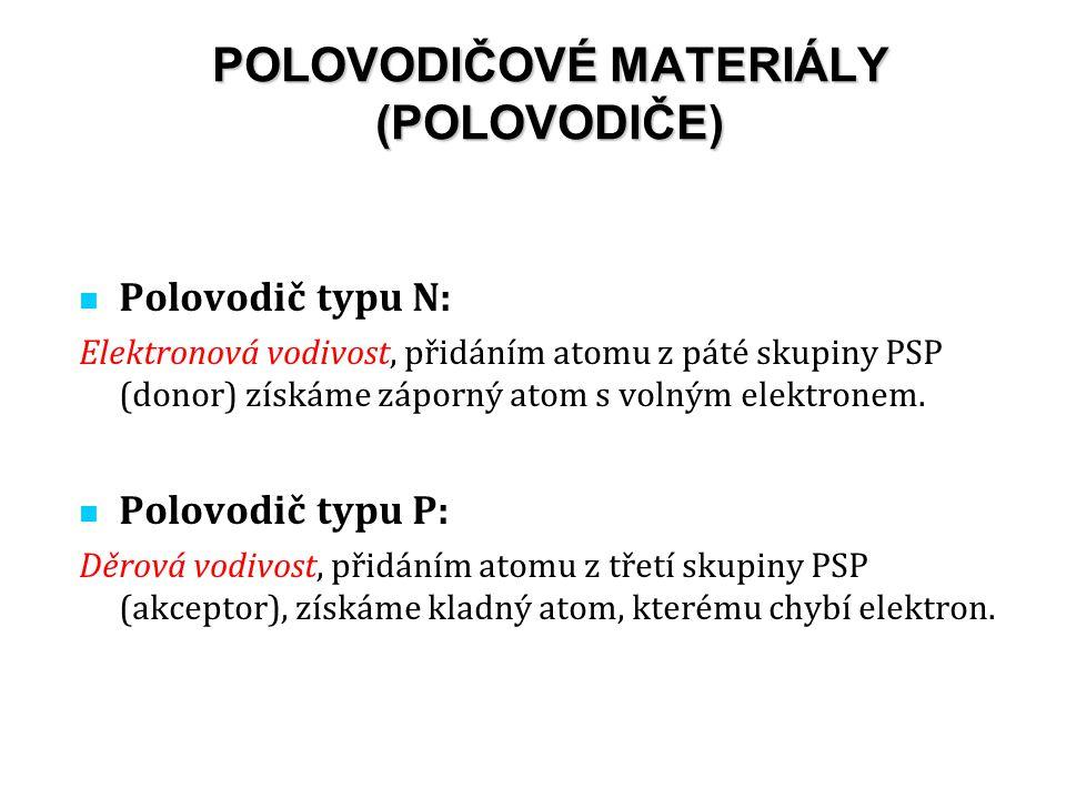 Polovodič typu N: Elektronová vodivost, přidáním atomu z páté skupiny PSP (donor) získáme záporný atom s volným elektronem.