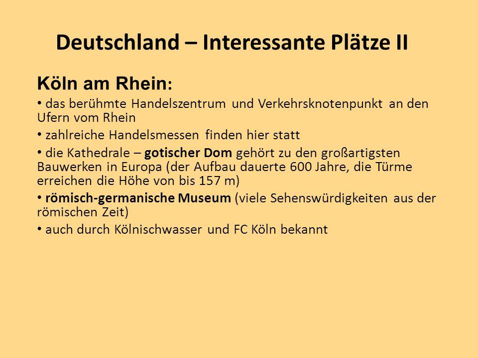 Deutschland – Interessante Plätze II Köln am Rhein : das berühmte Handelszentrum und Verkehrsknotenpunkt an den Ufern vom Rhein zahlreiche Handelsmess