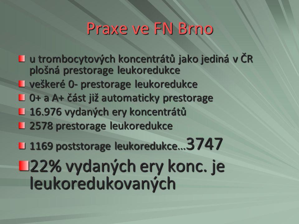 Praxe ve FN Brno u trombocytových koncentrátů jako jediná v ČR plošná prestorage leukoredukce veškeré 0- prestorage leukoredukce 0+ a A+ část již auto