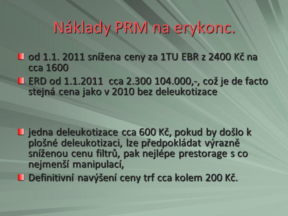 Náklady PRM na erykonc. od 1.1. 2011 snížena ceny za 1TU EBR z 2400 Kč na cca 1600 ERD od 1.1.2011 cca 2.300 104.000,-, což je de facto stejná cena ja