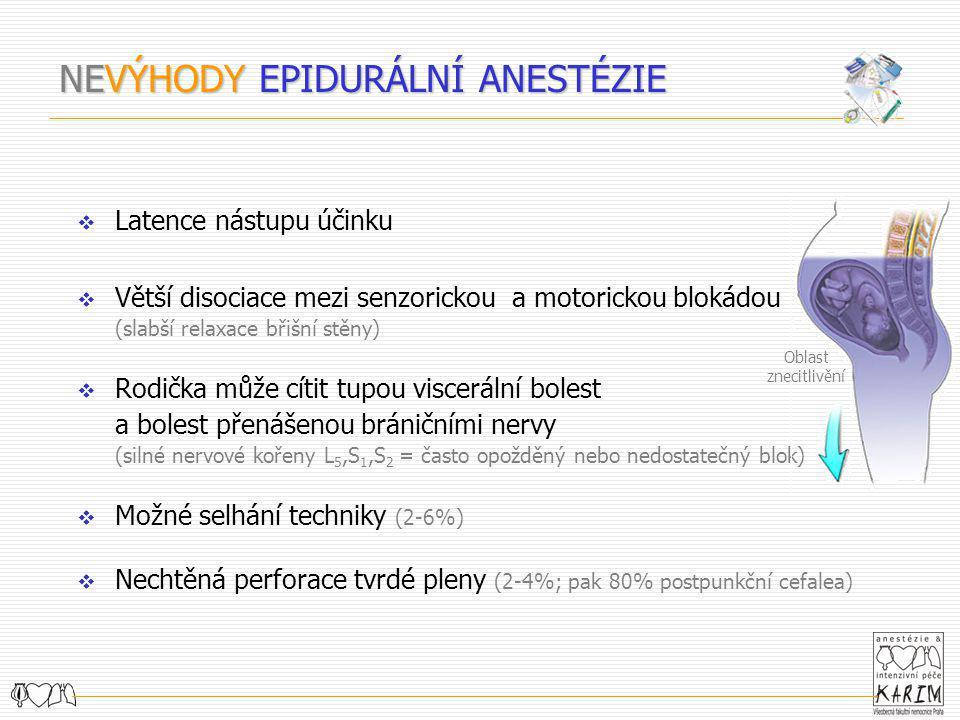 Latence nástupu účinku  Větší disociace mezi senzorickou a motorickou blokádou (slabší relaxace břišní stěny)  Rodička může cítit tupou viscerální