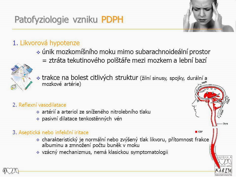 1. Likvorová hypotenze  únik mozkomíšního moku mimo subarachnoideální prostor = ztráta tekutinového polštáře mezi mozkem a lební bazí  trakce na bol